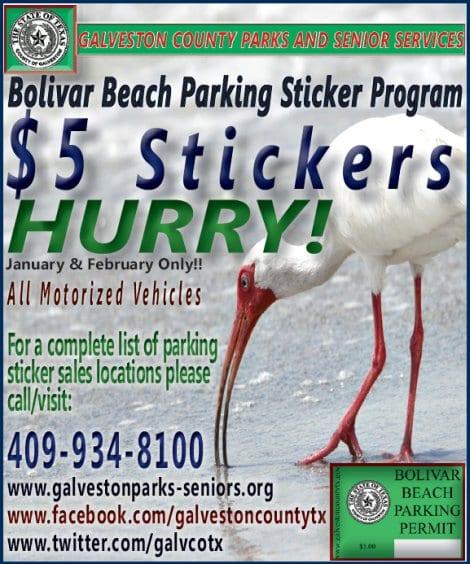 Bolivar Beach Parking Sticker Early Bird Special   Crystal Beach