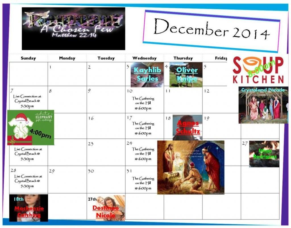 REMNANT December 2014 Calendar. Click image for larger view