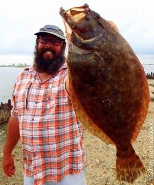 Houston angler John Harris tackled this nice rollover halibut fishing a Miss Nancy finger mullet
