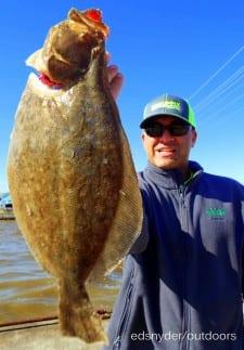 Plainfield Illinois angler Todd Rose fished a berkey gulp along a sandbar to catch this nice flounder