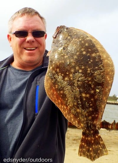 Spring TX angler Chris Shannon nabbed this nice flounder while fishing a berkely gulp