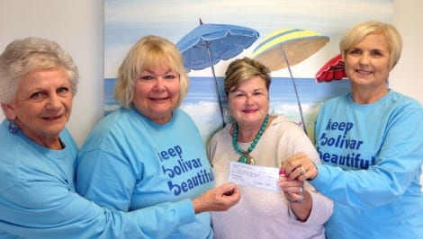 "Keep Bolivar Beautiful would like to say a big ""Thank You"" to Texas Crab Festival Charities for a $2000.00 grant donation for our community trailer project.  This donation will allow us to be able to provide various supplies and equipment to neighborhoods, the beach and various organizations to help keep the Bolivar Peninsula litter free and beautifully landscaped. Pictured: Left to Right - Carlis Cole, KBB President; Nelva Maxey, KBB Treasurer; Eve Bradford, TCFC Board Member; Brenda Flanagan, KBB VP"