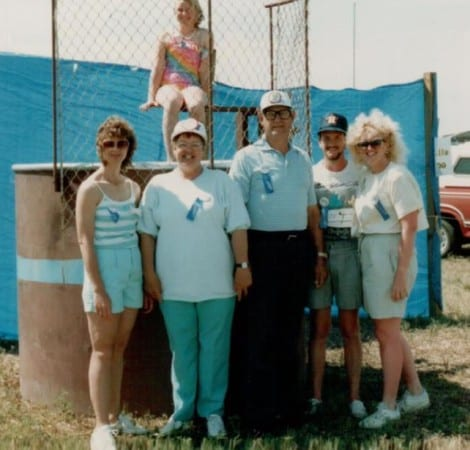 This was a taken at the very first Crab Festival at Crystal Beach in 1985. Mayme Holloman Woods Frederick and J.W. Frederick were on the Chamber of Commerce, and we were in charge of the Dunking Booth. Hollee Woods was one of the first guinea pigs. Those were the days...this year marks the 31st anniversary. (photo: Kathy Woods-Yeary)