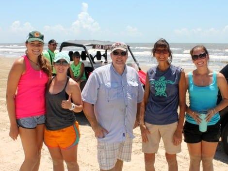 Turtle Recovery Team (L to R): Lauren Simunitis, Mackenzie Merrill, Dr. Chris Marshall, Joanie Steinhaus, and Teresa Morris