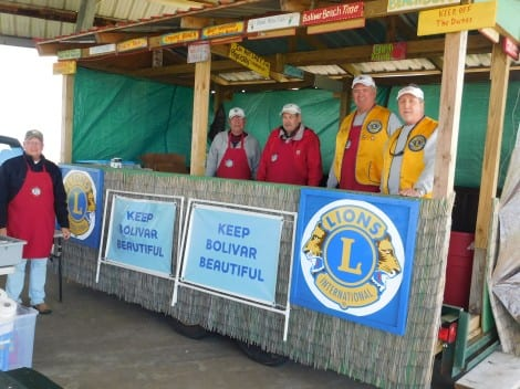 Bolivar Peninsula Lions Club served burgers and dogs to the workers on Friday.