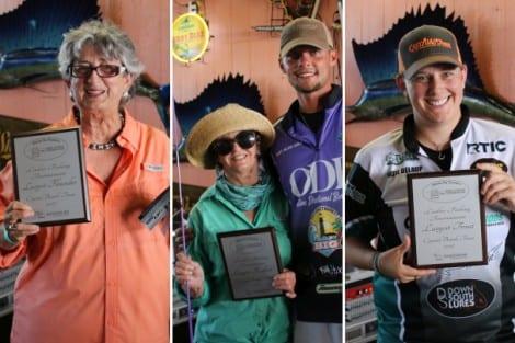 Largest Fish Awards: Flounder (Charlotte - On Golden Croaker), Redfish (Melody - Reel Speck Tackler), Trout (Renee - Castaway Rods)