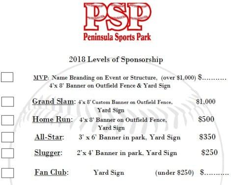 PSP Sponsorship Levels