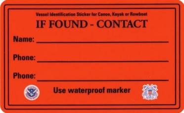 Canoe, Kayak, SUP or Rowboat Identification Sticker
